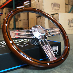 14 Inch Polished Dark Wood Steering Wheel Plain Horn A01 Adapter Gm Columns