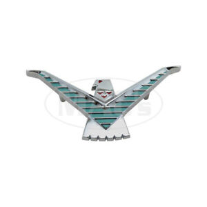 1959 Ford Thunderbird Roof Side Emblem Chrome With Red Light Turquoise
