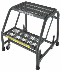 2 step Rolling Ladder Expanded Metal Step Tread 19 Overall Height 450 Lb