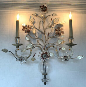 Vintage Maison Bagues Pair Crystal Silver Gilt Iron Urn Wall Sconces Flower