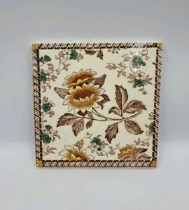 Antique Victorian 6 Square Floral Transfer Print Tile By Wedgwood C1870 90