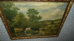 Antique Farmhouse Country Cows Scene Ornate Gold Wood Frame