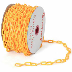 125 Ft Crowd Control Plastic Chain Utility Safety Barrier Indoor Outdoor Yellow
