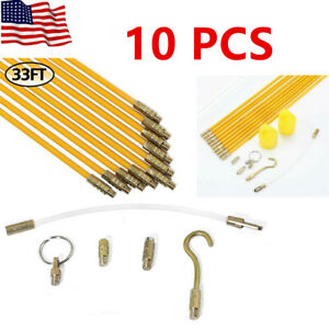 33 Fiberglass Running Wire Cable Electrical Pull Rod Fish Tape Kit 10pcs