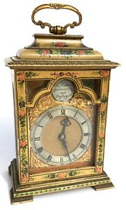 Antique Charles Frodsham Floral Painted Miniature Mantel Bracket Clock