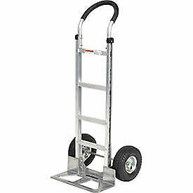 Aluminum Hand Truck Curved Handle Mold on Rubber Wheels