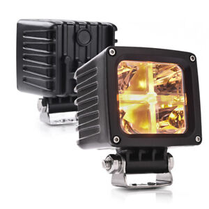 Mictuning 2x Led Pods 3 4 4000lm Amber Marker Light Spot Led Cube Offroad Light