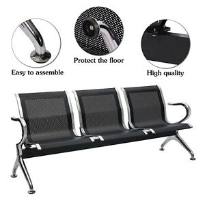 Heavy Duty 3 seat Airport Office Waiting Chair Salon Pu Leather Bench Seat Black