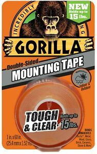 Gorilla Mounting Tape Tough And Clear Double sided 1 X 60 Clear 24 Pack