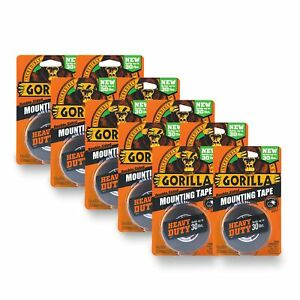 Gorilla Heavy Duty Double Sided Mounting Tape 1 Inch X 60 Inches Black pack