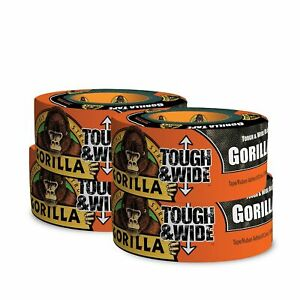 Gorilla Tape Black Tough Wide Duct Tape 2 88 X 30 Yd Black pack Of 4