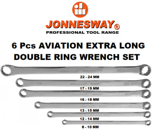 6pc Aviation Extra Long Double Ring Spanner Set 10mm 24mm With Canvas Pouch