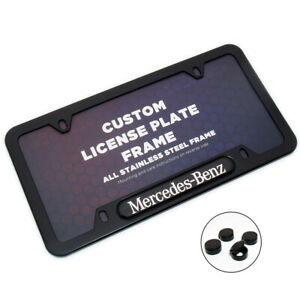Black Stainless Car License Plate Frame Cover For Mercedes Benz Sport Gift Amg