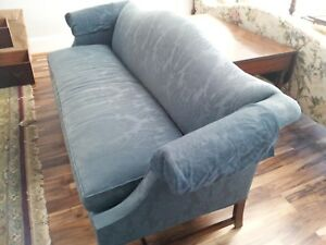 Beautiful Blue Damask Hickory Chair Camelback Sofa With 6 Back Pillows