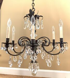Vintage French Crystal Flower Prisms Chandelier Attr Maison Bagues