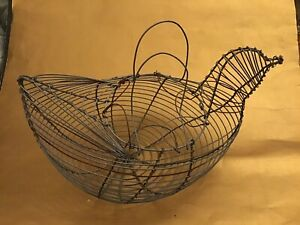 Vtg Antique 12 Twisted Wire Chicken Egg Carrying Basket