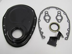 Small Block Chevy Black Timing Chain Cover Kit Sbc Gaskets Seal Tab 283 327 350