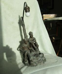 Spelter Lamp With Indians Campfire