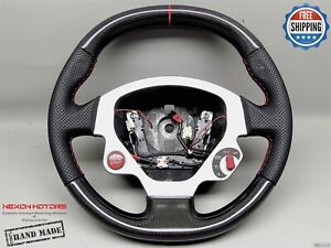 Ferrari F430 Perforated 3 Red Ring Stitch Flat Thick Carbon Steering Wheel V1