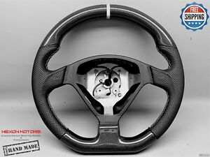Ferrari F360 Perforated 8 White Ring Thick Flat Bottom Carbon Steering Wheel V2