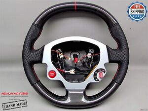 Ferrari F430 Perforated 5mm Red Ring Stitch Thickest Carbon Steering Wheel V2