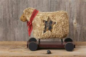 New Primitive Country Farmhouse Folk Art Grungy Colonial Wooly Sheep On Cart