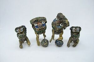 Set Of 4 Small Antique Filigree Chinese Silver Enamel Foo Dog Hand P 1450