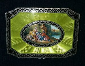 Antique Engraved Sterling Silver 935 Guilloche Enamel Niello Snuff Box Germany
