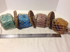 Vintage Fishing Float 4 Colored Glass 3 Square Floats With Net