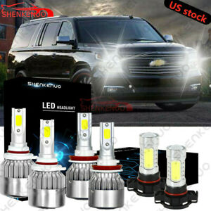 Combo 9005 H11 5202 Led Headlight fog Bulbs For 07 14 Chevy Suburban Tahoe White