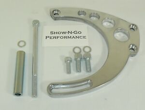 Bbc Big Block Chevy Long Water Pump Mid Mount Alternator Bracket Polished