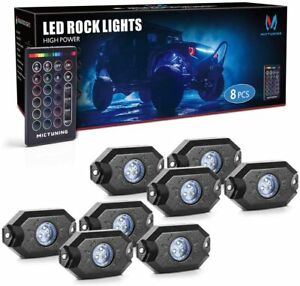 Mictuning 8x Pods Rgb Rock Lights Remote Control Multicolor Neon Offroad Light