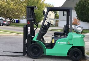 Mitsubishi Pneumatic Forklift 5000lb 3 Stage Mast Lpg Low Hours Fork Lift