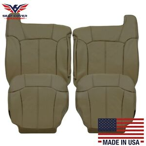 1999 2000 2001 2002 Chevy Silverado Leather Seat Covers In Medium Neutral Tan