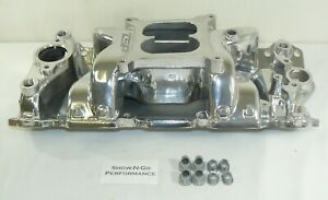 Chevy Small Block Carbureted Polished Aluminum Dual Plane Airgap Intake Manifold