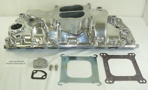 Bbc Big Block Chevy Polished Aluminum Dual Plane Intake Manifold Oval Port