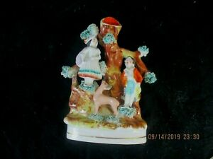 Antique Staffordshire Spill Vase Boy Girl Deer Great Colors And Charm