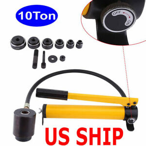 Hydraulic Metal Hole Punch Knockout Set With 6 Dies Tool Hand Pump 22mm 60mm Us