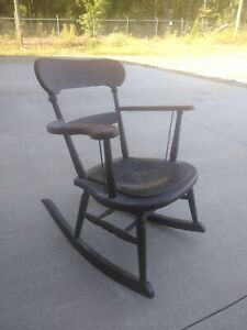 Antique Solid Wood Rocking Chair With Leather Seat