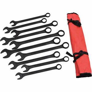 10 pc Jumbo Sae Combo Wrench Set 1 5 16 2 Combination Black Oxide W Pouch