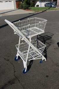 Complete Antique Metal Rolling Grocery shopping Cart Two Wire Baskets Foldable