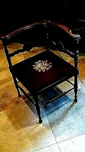 Antique Victorian English Walnut Carved Needlepoint Lady S Parlor Armchair 1870