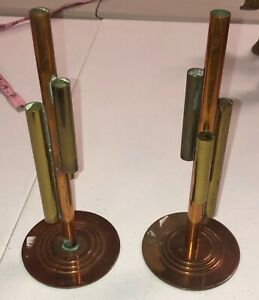 Vintage Pair Of Chase Art Deco Brass And Copper Skyscraper Bud Vases Estate 9
