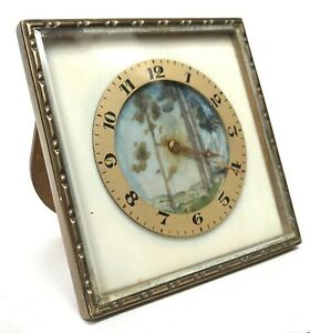 Antique Miniature French Painted Easel Clock With Brass Bronze Frame