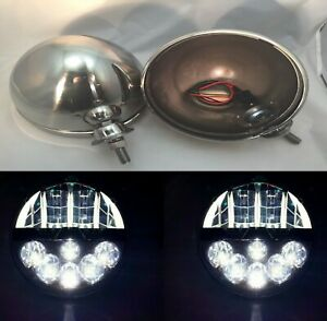 Pair Dietz 7 Stainless Headlight Lamp Buckets W Projection Led Headlights