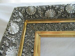 Rare Antique Fits 22 X 28 Gold Silver Gilt Picture Frame Wood Ornate Fine Art