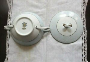 Japanese China Bow Lid Soft Light Blue Crisson White Leaves 65 00