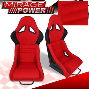 Car Pair Of Jdm Style Light Weight Racing Bucket Seats Red Black Civic Integra