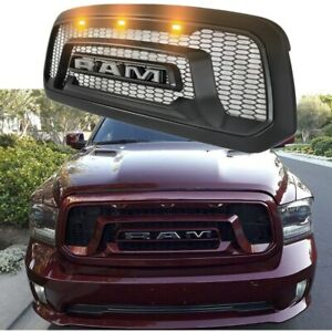 New Front Hood Grille For Ram 1500 2013 2018 Honeycomb Mesh Grill Black W Light