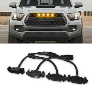 4x Smoke Front Grille Led Light Amber For Toyota Tacoma 2016 2019 W Pro Grille